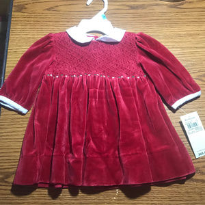 Ralph Lauren red velvet dress 6 months NWT